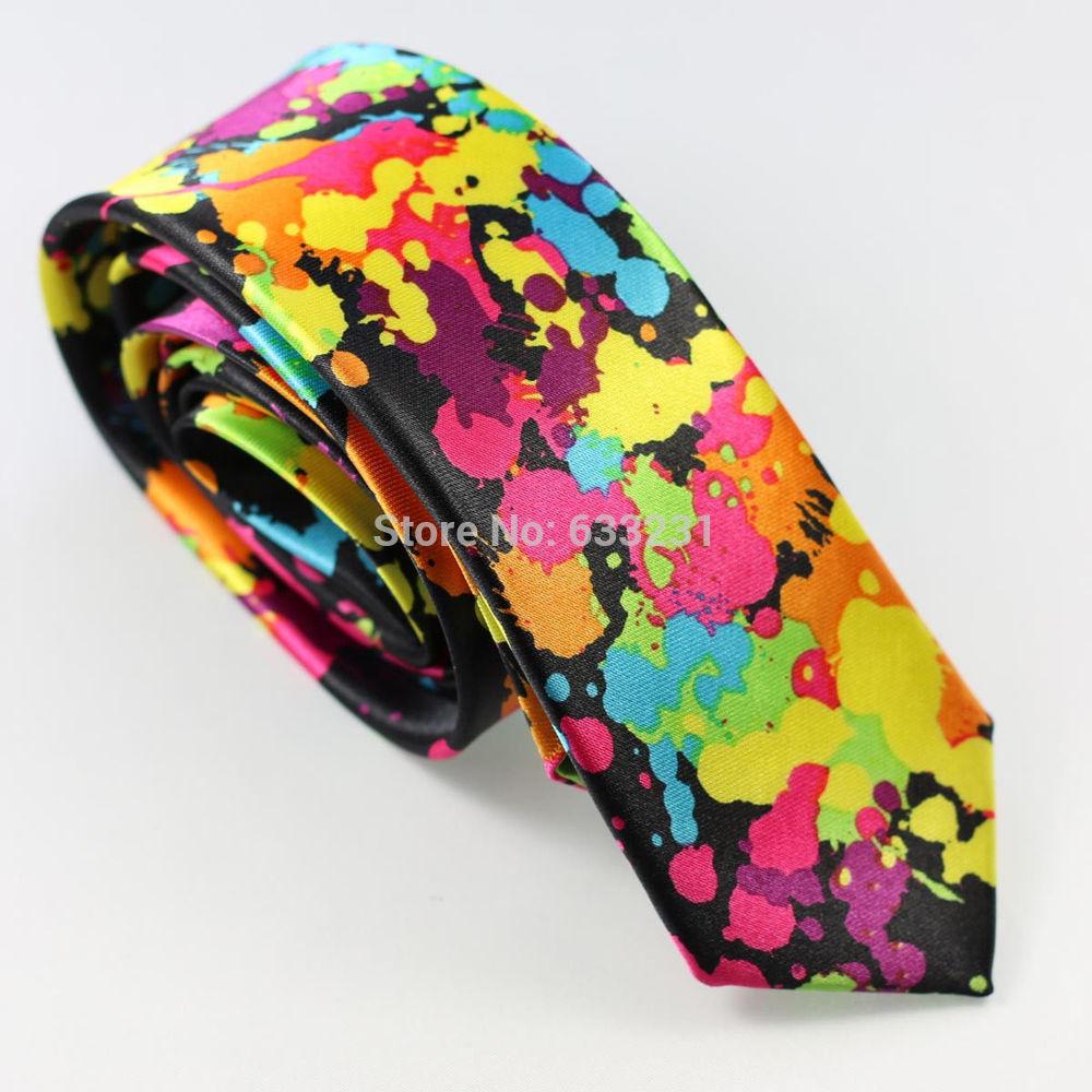 "Coachella ties 2"" Poly Thin Black/Red/Yellow/Blue/Green/Purple oil painting print NARROW TIE fashion unisex perform neck tie(China (Mainland))"