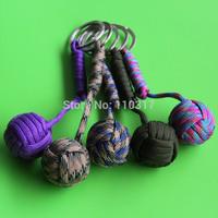 5pcs/lot, Tactical Para Cord Monkey Fist, Knife Lanyard, Chrome Steel Ball Keychain, free shipping