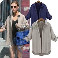 Free Shipping 2014 Winter Autumn Zipper Cotton Blend Coat Women's Loose Casual Jackets S M L XL B6 SV007461