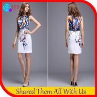 New 2014 Women's Sexy Bodycon Print Dress Celebrity Knee-length Prom Dresses Vestidos