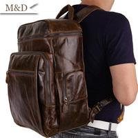 100% Vintage Genuine Leather Men's Backpacks Cool Camping Backpacks Travel Bag