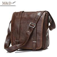 High Quality Vintage Leather Unisex Dark Coffee Shoulder Bags Messenger Bag Crossboday Bags