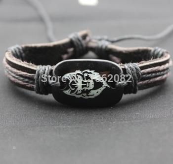 Классические мужские кожаный браслет смола резные волчья голова браслеты дружбы ID ...