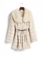 2014 winter new Korean Women in the long section rabbit fur mink fur collar leather coat jacket grass