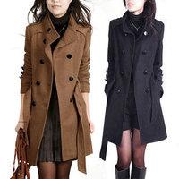 2014 women's big size winter trench coat female large size woolen elegant slim medium-long plus size outerwear trench Coat
