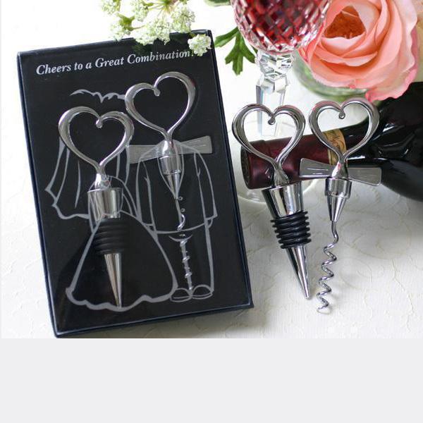 Bride and Bridegroom Bottle Stopper and Opener heart couple Corkscrew Wine Bottle Stopper Favor Set Wedding Favor 10 Sets(China (Mainland))