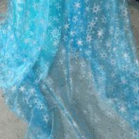 width 150cm  Princess snowflake organza fabric blue  SILVER GLITTER cosplay  shiner bright fabric CAPE snowflake tulle