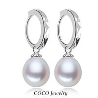 Natural Pearl Hoops Earrings Genuine Sterling Silver 925 Bridal Earring Freshwater Teardrop Pearls vintage Jewelry Mom's Gift