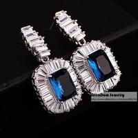 TOP Luxury Nightclub Queen Bright AAA Swiss CZ Zircon Brincos 18K Real Platinum Plated Earring Dress Jewelry + Gift Box SCE045