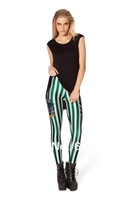 OSAILI Ladies Women's Skinny Pencil Pants Harry Potter Striped Graphic leggings Slytherin stretchy Digital Silky Leggings Green