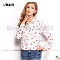 body European and American women summer loose big yards lapel long-sleeved shirt bottoming lips print chiffon sheer blouse shirt