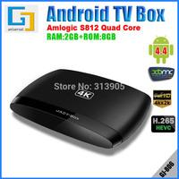 DHL free Smart TV Box android 4.4 Quad-core 2GB RAM Amlogic S812 2Ghz ROM 8GB Wi-Fi HDMI 4K  DLNA Miracast GJ806 media player