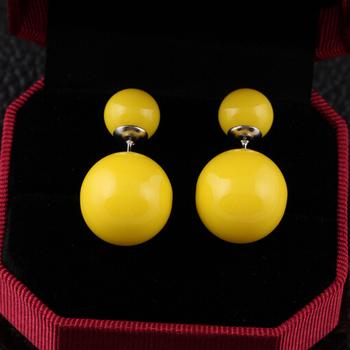 16 цвета 2014 марки , предназначенные модный симпатичные с двойными жемчужинами себе мяч серьги аксессуары ювелирные изделия для женщин