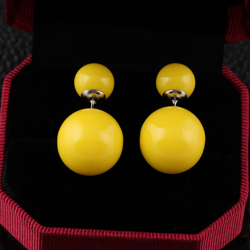 16 Colors 2014 Genuine Brand Designed Trendy Cute Charm Double Pearl Statement Ball Stud Earrings Accessories Jewelry For Women(China (Mainland))
