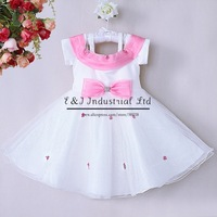 Hot Sale Girls Wedding Dress Pink Bow Dot White Polyester Lace Princess Dresses Kids Halloween Wear GD40814-33
