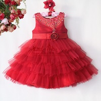 Hot Sale Christmas Girl Dress Red Lace Wedding Girls Party Dresses Baby Princess Wear Children Clothes GD40814-44