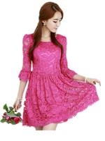 Free Shipping! 2014 Auutmn Three Quarter Sleeve Women Large size Sweet  Korean lace dress,White/black/rose red M-4XL