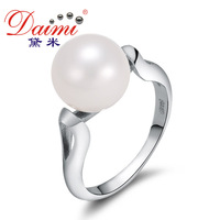 DAIMI Brand Ring Natural 9-10mm Big Round Freshwater Pearl Wedding Ring Brief Style For Lady Free Shipping