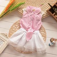Hu Sunshine wholesale new 2014 Fashion girls summer lace stitching pink stripe Puff dress with tie