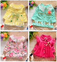 hot selling new2014autumn baby clothing bebe clothes roupas de bebe baby girl t shirt 100%cotton with big flower freeshipping