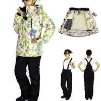Sports Suit Top Fashion 2014 Fashion Women Ski Suit Sets Windproof Waterproof Winter Jacket+pants Warm Breathable free Shipping