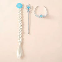 retail 3pcs set frozen party accessories anna elsa pricess pig tail stick crown new style 2014 cartoon