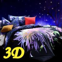 cotton bedclothes 3d king queen size (duvet cover,bed sheet,pillowcases) bed set& Black flower pattern #H17-2