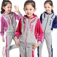 2014 autumn fall winter children's clothing girls velvet suit set 6-14