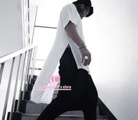 Hip Hop Asymmetrical hem low-high lengthen men t shirts / Summer fashion short-sleeve o-neck split Men Tees / Black White S-3XL