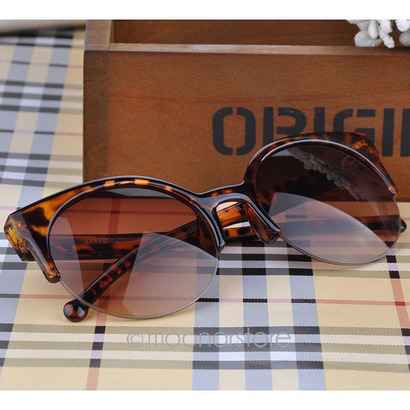Fashion Vintage Sunglasses Retro Cat Eye Semi-Rim Round Sunglasses for Men Women Sun Glasses Eyewear Eyeglasses Y52*MPJ093#M5(China (Mainland))