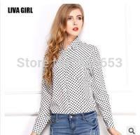 body 2014 new retro wave point  polka dot chiffon women ladies plus size long-sleeved button shirt loose sheer blouse shirt