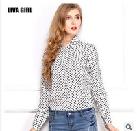 body 2014 new retro wave point  polka dot chiffon women ladies plus size long-sleeved button shirt loose sheer blouse shirt