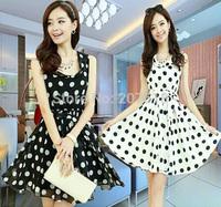 Summer Dresses 2014 New Elegant Women Polka Dot Chiffon Tank Dress Sim Short Ball Gown Beach Dress