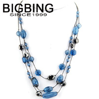 BigBing fashion jewelry Multilayer blue sweater chain necklace fashion necklace wholesale jewelry B455