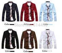 2014 New Men's Fashion long-sleeved casual shirt  Solid Shirt jacket men's cotton plus size  male shirt