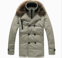 New 2014 Men White Duck Down Jacket Winter Outdoors Parka Jaqueta Masculina Long  Real Fur Collar Clothing Casual Coat M-XXXL