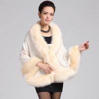 Fashion Women Faux Fur Cape Bat Knitting Winter and  Autumn Floral Printting Wrap Women Coat Warm Outwear Free Size W002