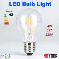 4W 6W 8W  E27 led Bulb lamp lighting 220V Transparent glass Warn/Cold White LED filament bulb light CE RoHS x 10pcs