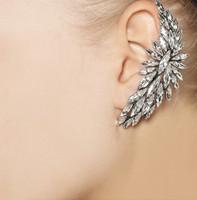 Stylish Gold Alloy Shinning Faux Crystal Rhinestone Clip Huggie Earrings Women Brincos Boucles