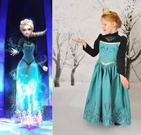 2014 Brand Kids Baby Girls Princess dresses Frozen Dress for Elsa and Anna girl , princess elsa anna dress hot sale