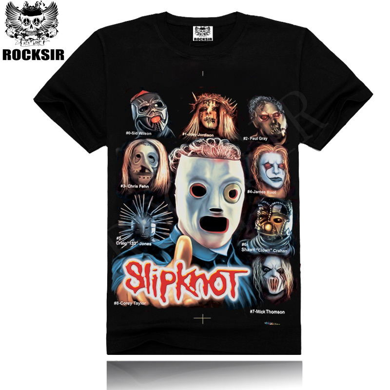 2014 Newest style Silk sreen 100% cotton round neck Printing men's Black short sleeve slipknot music band T-shirt(China (Mainland))
