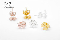post four clover good luck jewelry rose gold earrings
