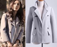 2014 Winter New Women Wool Outerwear Coat Slim Ladies Fashion Coats Desigual Brand Pockets Woollen Casacos Femininos For Women