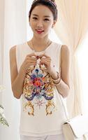 Free shipping!Dropshiping!2014 hot sale women's shirts Slim wild cool sleeveless chiffon shirt vest chiffon print  G0149