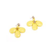 Free Shipping Bohemian yellow drop earrings three leaves flower earrings yellow earrings