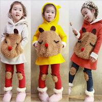 Retail Girls' Sets Long Sleeves Children Hoodies Panda Clothing Kids Warm Suit  Long T-shirt+pants 2pcs/set 3 Colors  AB231