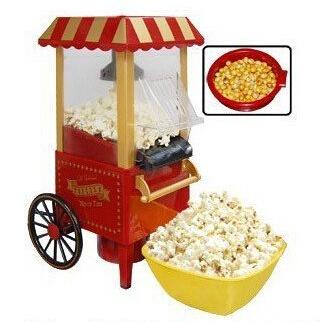 DIY mini carriage shape nostalgic Retro hot air popcorn machine poper pop corn maker with EU plug red/pink color free shipping(China (Mainland))