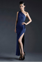 Special Offer Low Price Formal One Shoulder Blue Chiffon Gowns Evening Promotion Style