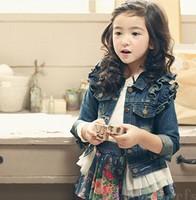 2014 New Fashion Hot Brand Children Outwear Girls Winter Child Coat Girls Denim Jeans Jacket Kids Coat Topolino Baby Clothing