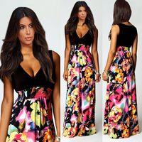 2014 Summer Bohemian Maxi Dress New Fashion Deep V-Neck Sleeveless Floor Length Full Dress Floral Print Dress LJZ034
